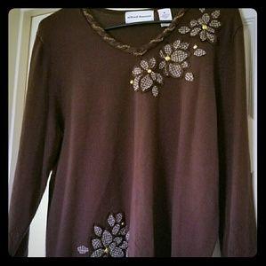 Alfred Dunner Flower Embellished Brown Sweater